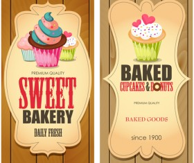 Baked cupcake cards with wood background vector
