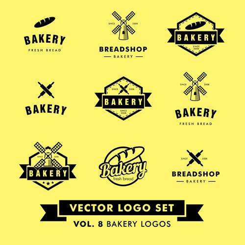 Bakery black logos vector material
