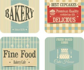 Bakery with cupcake vintage cards vector