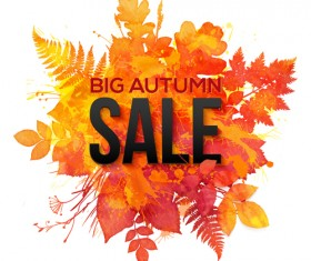 Big autumn sale with maple leaves background vector 01