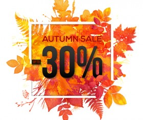 Big autumn sale with maple leaves background vector 02