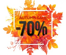 Big autumn sale with maple leaves background vector 03