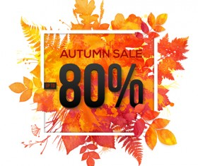 Big autumn sale with maple leaves background vector 04