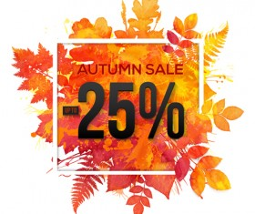 Big autumn sale with maple leaves background vector 05