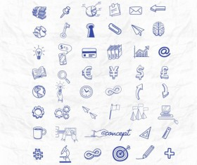 Blue business icons hand drawn set