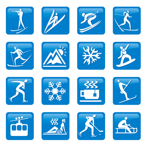 Blue winter sport icons vector material