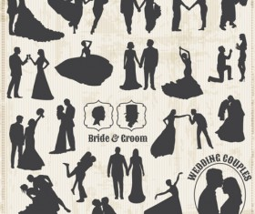 Bride with groom silhouettes vector material