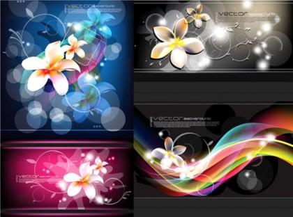 Bright fantasy flower background vector design