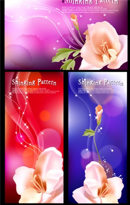 Bright fantasy flower background vector set