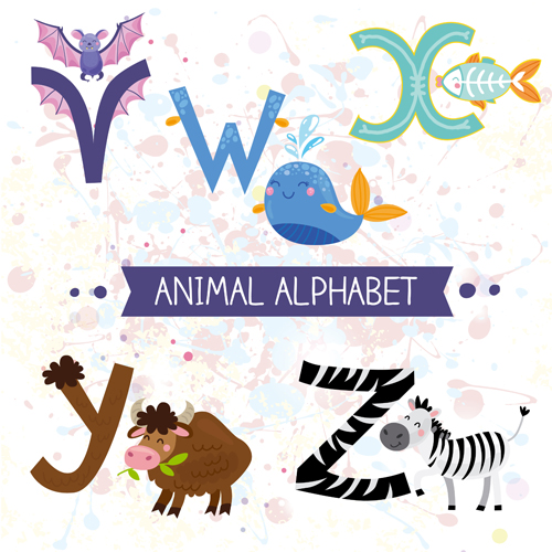 Cartoon animal alphabets deisng vector set 07