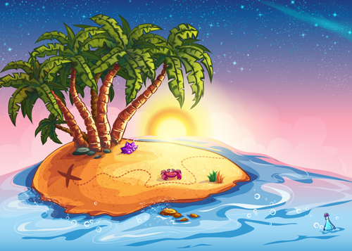 Cartoon island with palm tree vector material - Vector ...