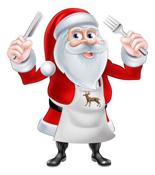 Cartoon Santa Knife And Fork Vector 01 Free Download