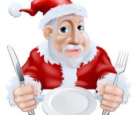 Cartoon santa knife and fork vector 07