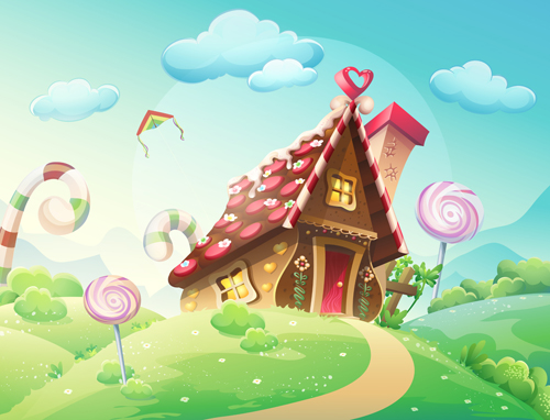 Cartoon sweet house with cookies and caramels vector