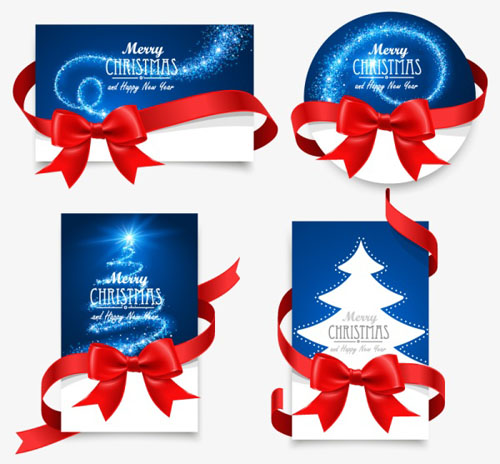 Christmas cards with red ribbon bow vector material