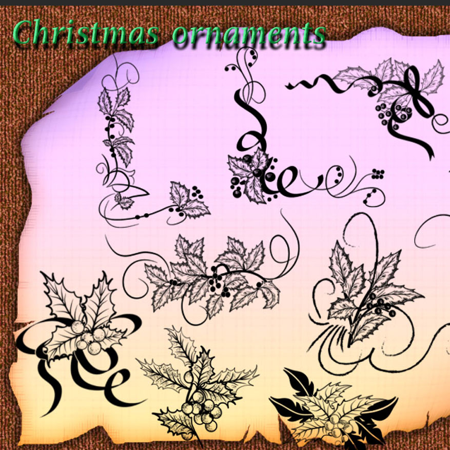 Christmas Ornaments Photoshop Brushes