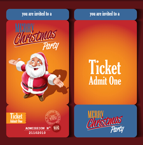 Christmas Party Ticket Template Free: Christmas Party Ticket Retro Vector