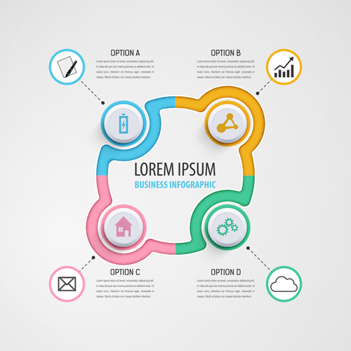 circular business infographics creative vectors template 10 free