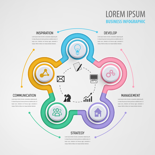 Circular Business Infographics Creative Vectors Template
