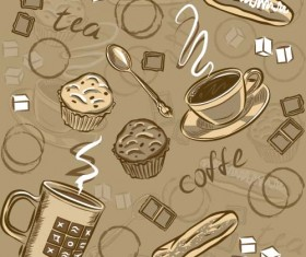 Coffee cup and spoon vintage vector pattern 01
