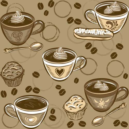 Coffee Cup And Spoon Vintage Vector Pattern 02