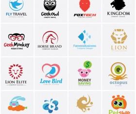 Colored animal logos vector material 03