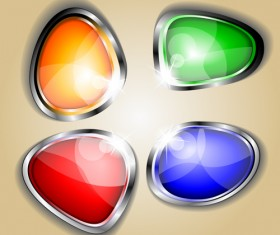 Colored glass with metal button vector 01