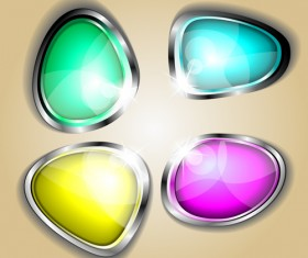 Colored glass with metal button vector 02