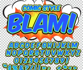 Comic styles alphabet with numbers and symbol vector set 01
