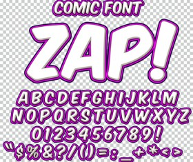 Comic styles alphabet with numbers and symbol vector set 02