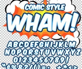 Comic styles alphabet with numbers and symbol vector set 06