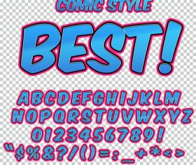 Comic styles alphabet with numbers and symbol vector set 07