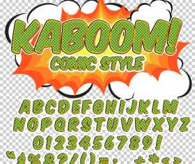 Comic styles alphabet with numbers and symbol vector set 08