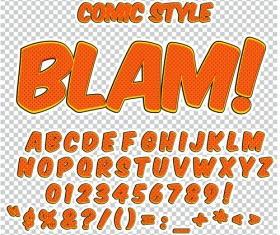 Comic styles alphabet with numbers and symbol vector set 09