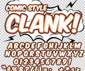 Comic styles alphabet with numbers and symbol vector set 10