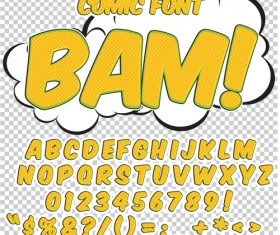 Comic styles alphabet with numbers and symbol vector set 11