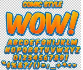 Comic styles alphabet with numbers and symbol vector set 12