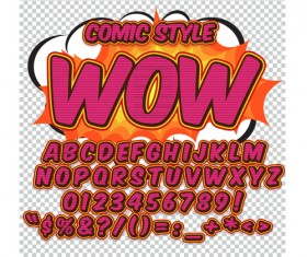 Comic styles alphabet with numbers and symbol vector set 13