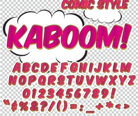 Comic styles alphabet with numbers and symbol vector set 14