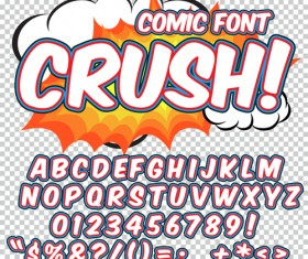 Comic styles alphabet with numbers and symbol vector set 15