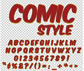 Comic styles alphabet with numbers and symbol vector set 17
