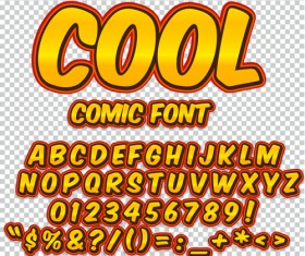 Comic styles alphabet with numbers and symbol vector set 18