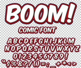 Comic styles alphabet with numbers and symbol vector set 19