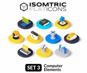 Computer elements flat icons vector 01