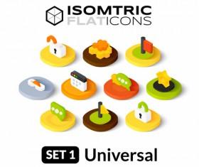 Computer elements flat icons vector 02