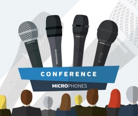 Conference microphones business template vector 01