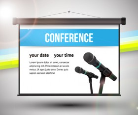 Conference microphones business template vector 02