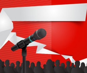 Conference microphones business template vector 03