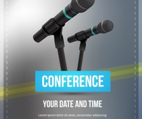 Conference microphones business template vector 04