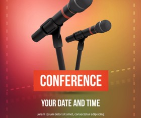 Conference microphones business template vector 05
